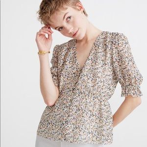 NWT Silk V-Neck Popover Top in Fieldwalk Floral